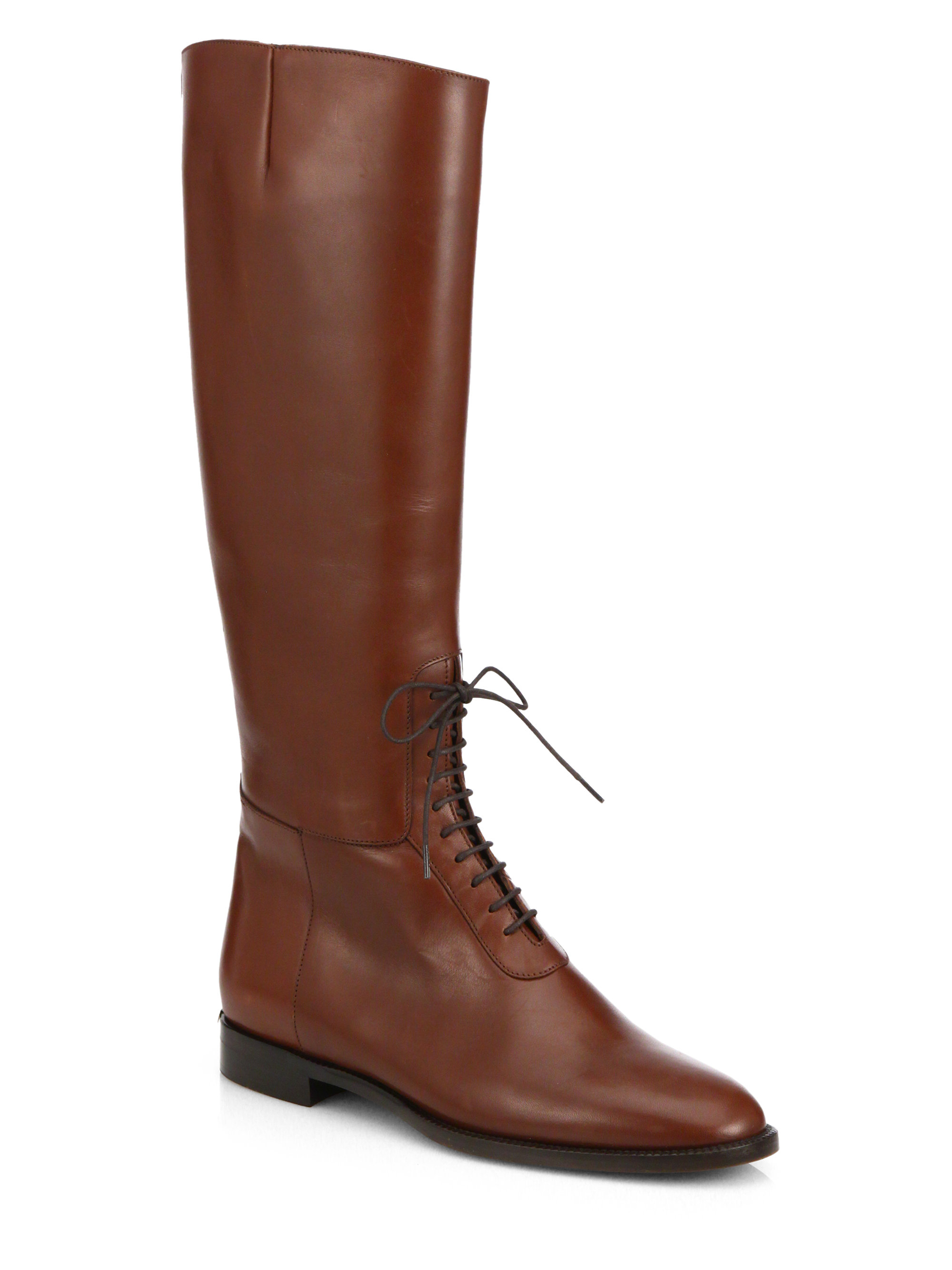burberry mawgan lace up knee high leather boots in brown