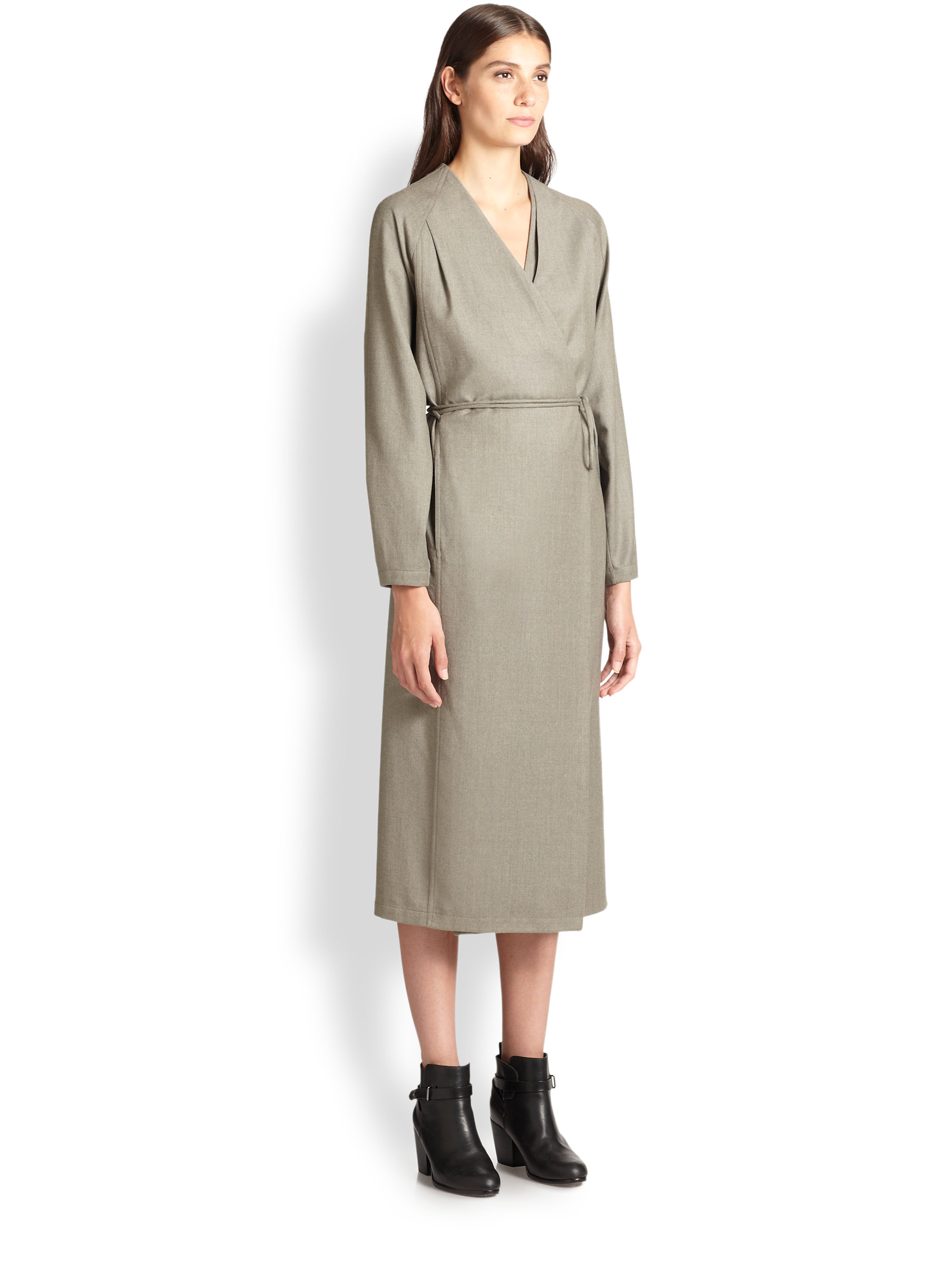 Lyst Christophe Lemaire Cashmere Amp Wool Wrap Dress In Gray