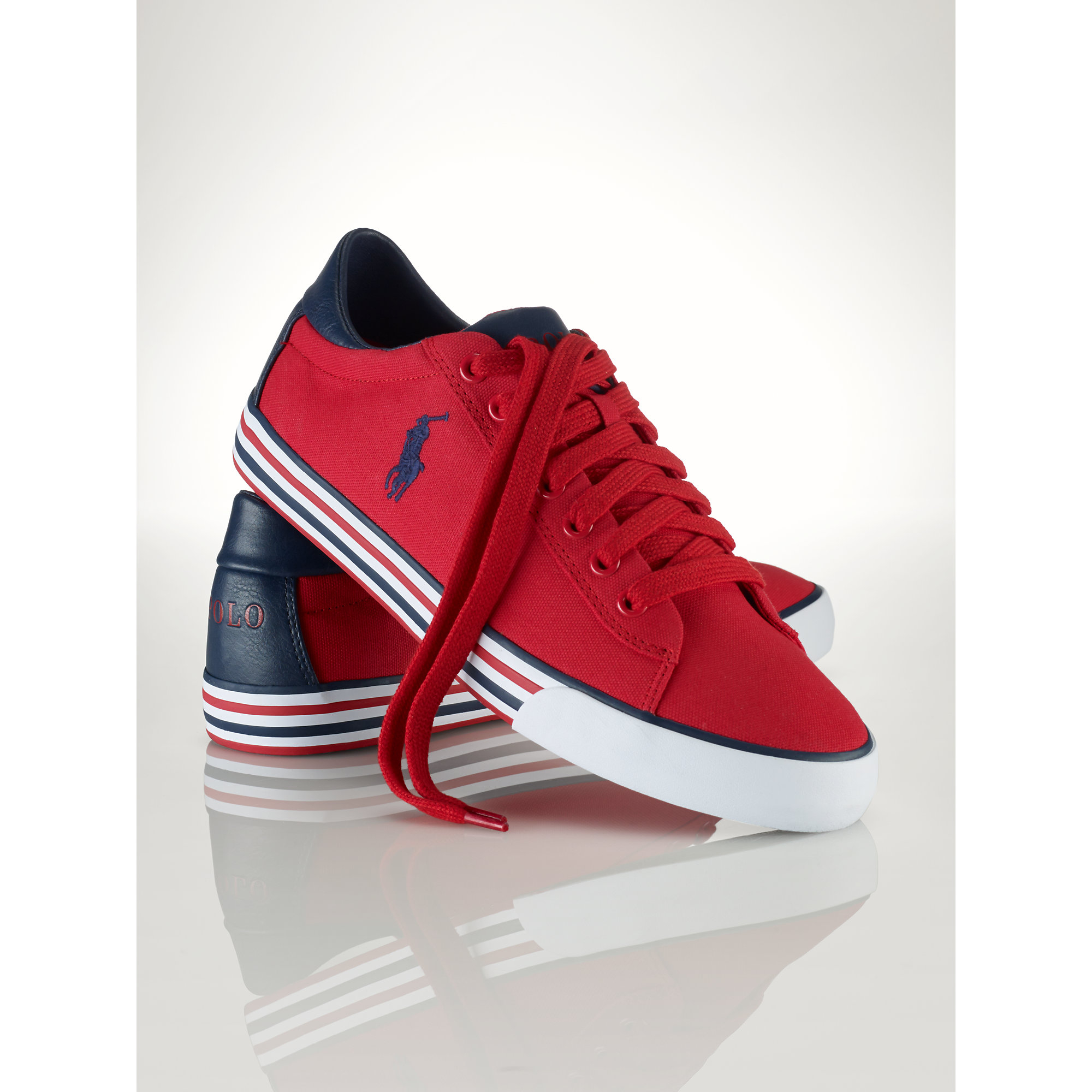 lyst polo ralph lauren canvas harvey sneaker in red for men. Black Bedroom Furniture Sets. Home Design Ideas