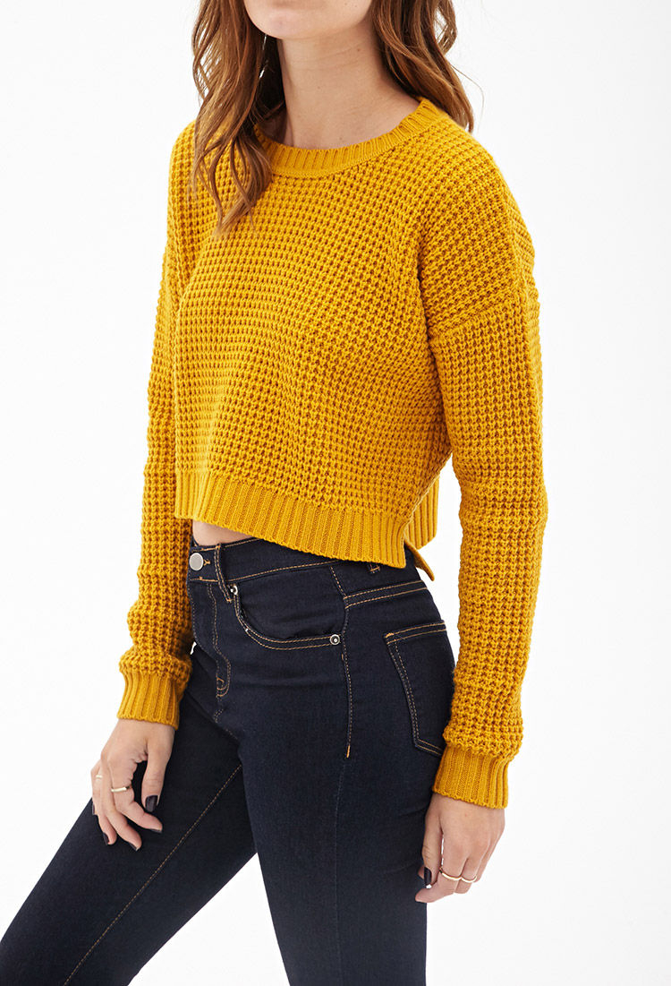 Forever 21 Cropped Waffle Knit Sweater You've Been Added To The ...