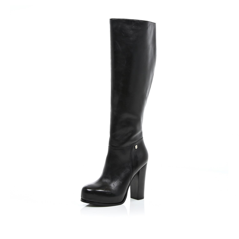 river island black block heel knee high boots in black lyst