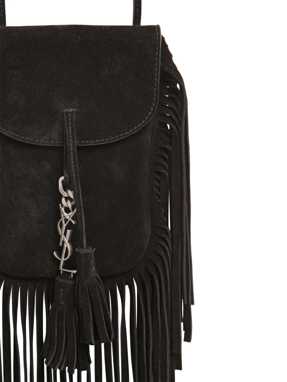 47a9ee9cd1cd Lyst - Saint Laurent Anita Fringed Suede Shoulder Bag in Black