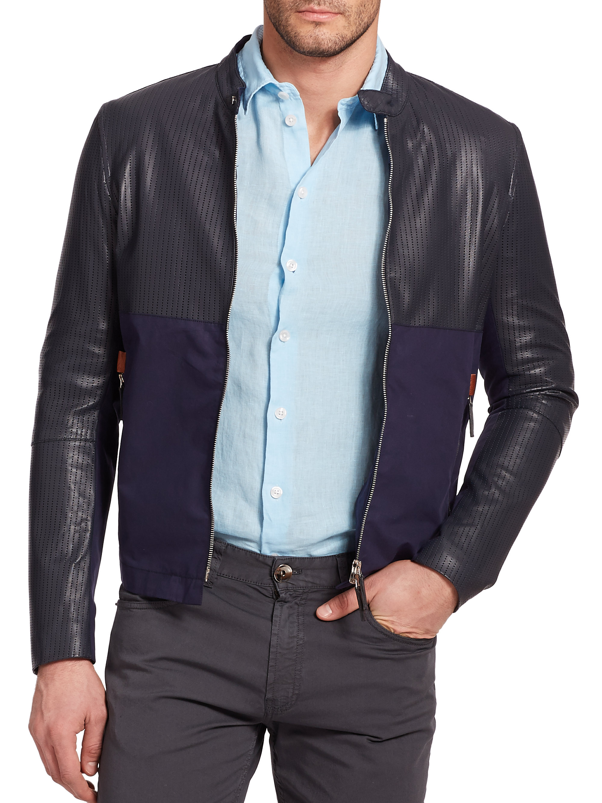 Armani Perforated Leather Jacket in Blue for Men | Lyst