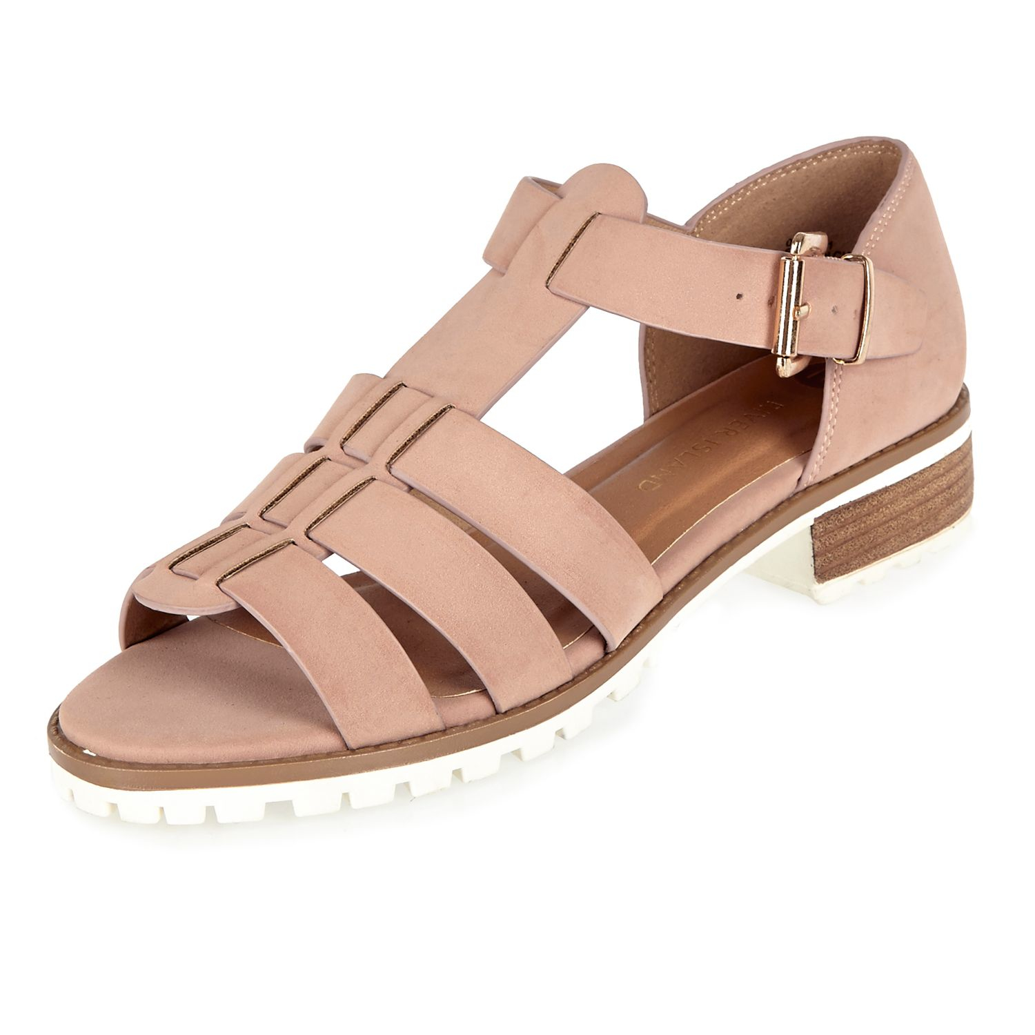 Lyst - River Island Pink Strappy Open Toe Geek Sandals In Pink-7348
