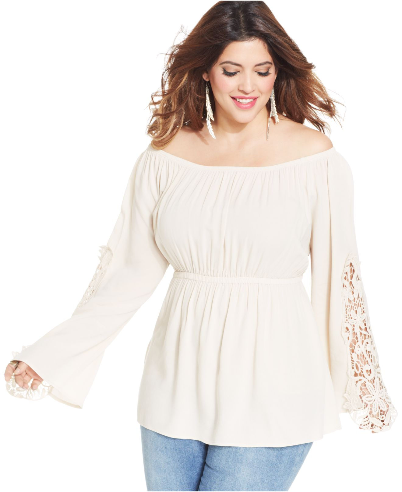 soprano plus size off-shoulder crochet peasant top in white | lyst