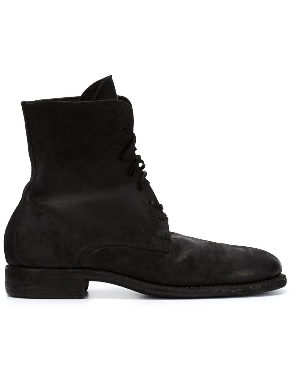 guidi lace up distressed leather boots in black for lyst