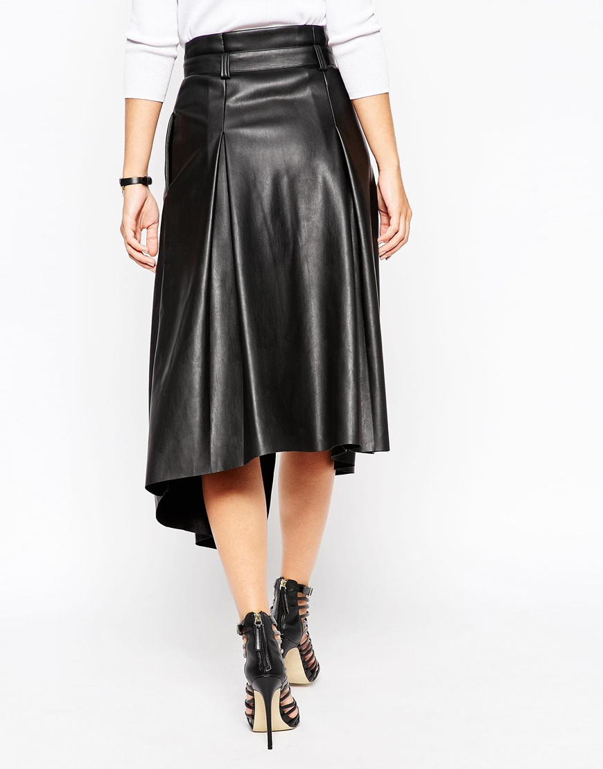 asos midi skirt in leather look with wrap detail in black