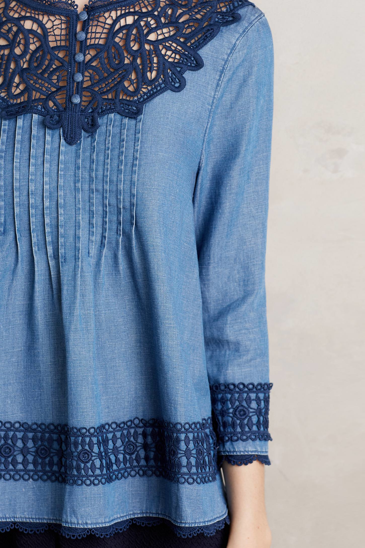 Lyst holding horses laced chambray top in blue for Chambray top