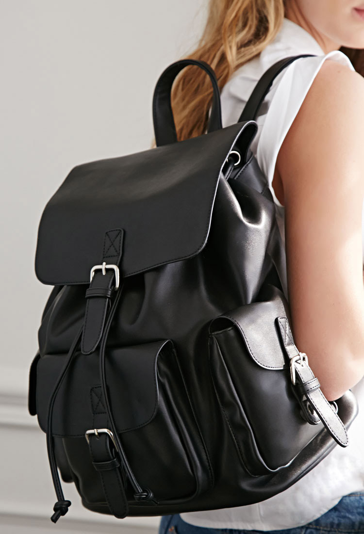 Lyst - Forever 21 Faux Leather Buckled Backpack in Black