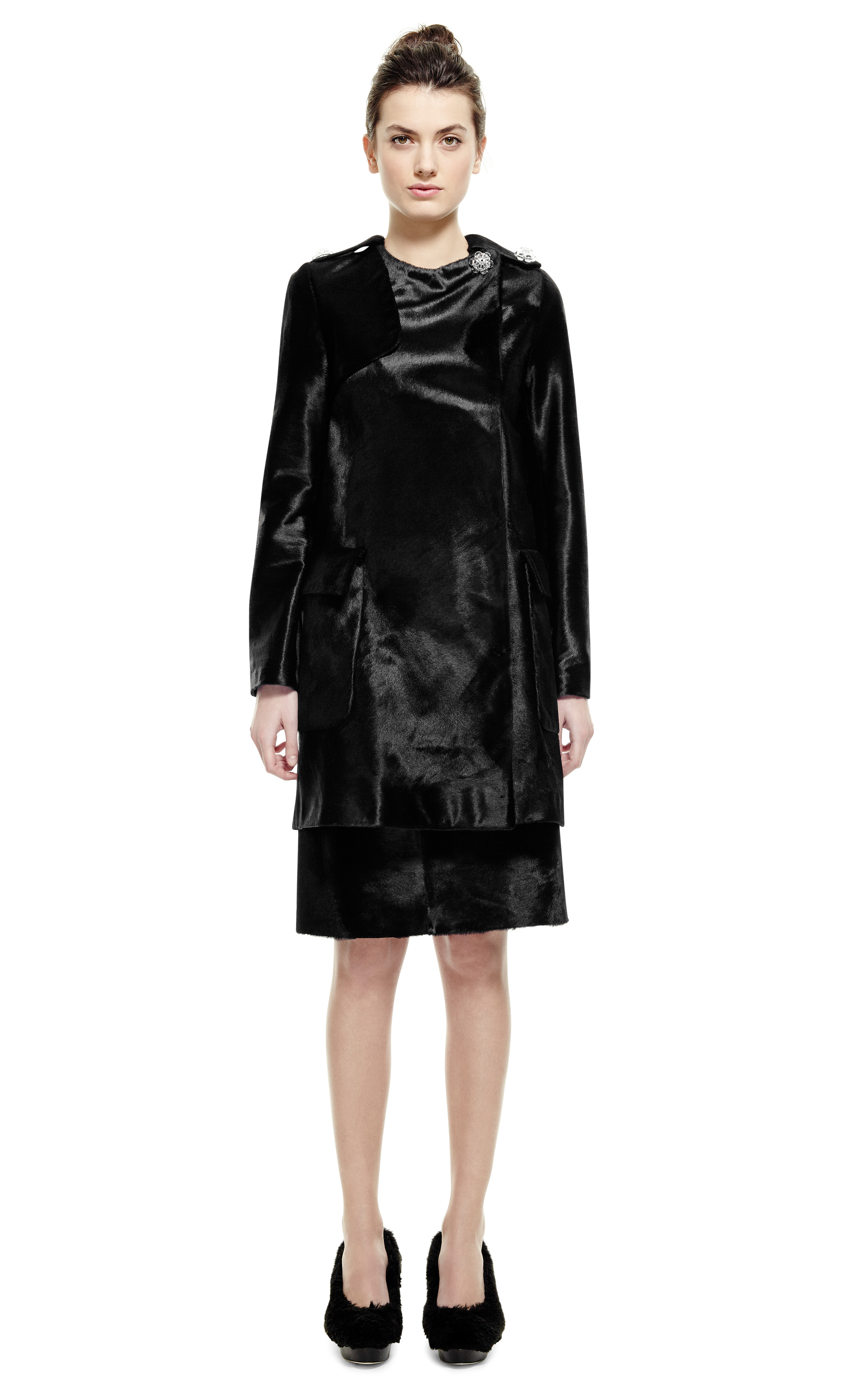 Simone Rocha Black Pony Hair Coat In Black Lyst