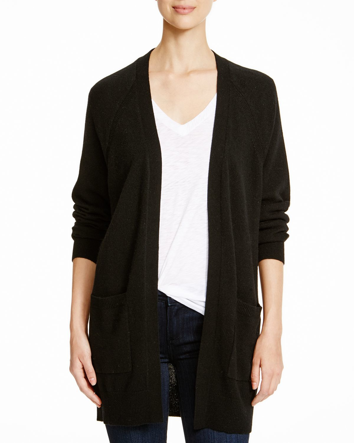 Black Cashmere Cardigan Sweater With Pockets 75