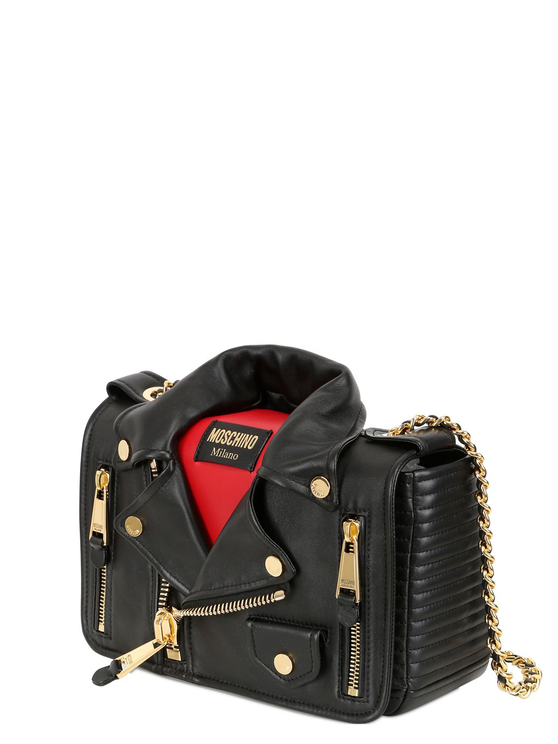 Lyst Moschino Biker Jacket Nappa Leather Shoulder Bag In Red