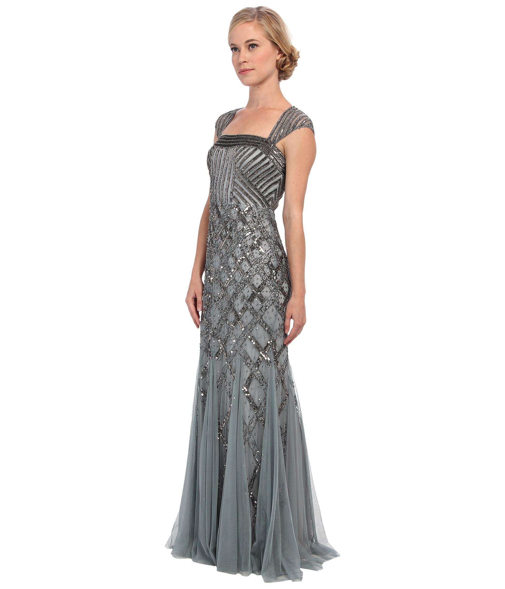 Lyst - Adrianna Papell Petite Cap Sleeve Beaded Dress in Gray