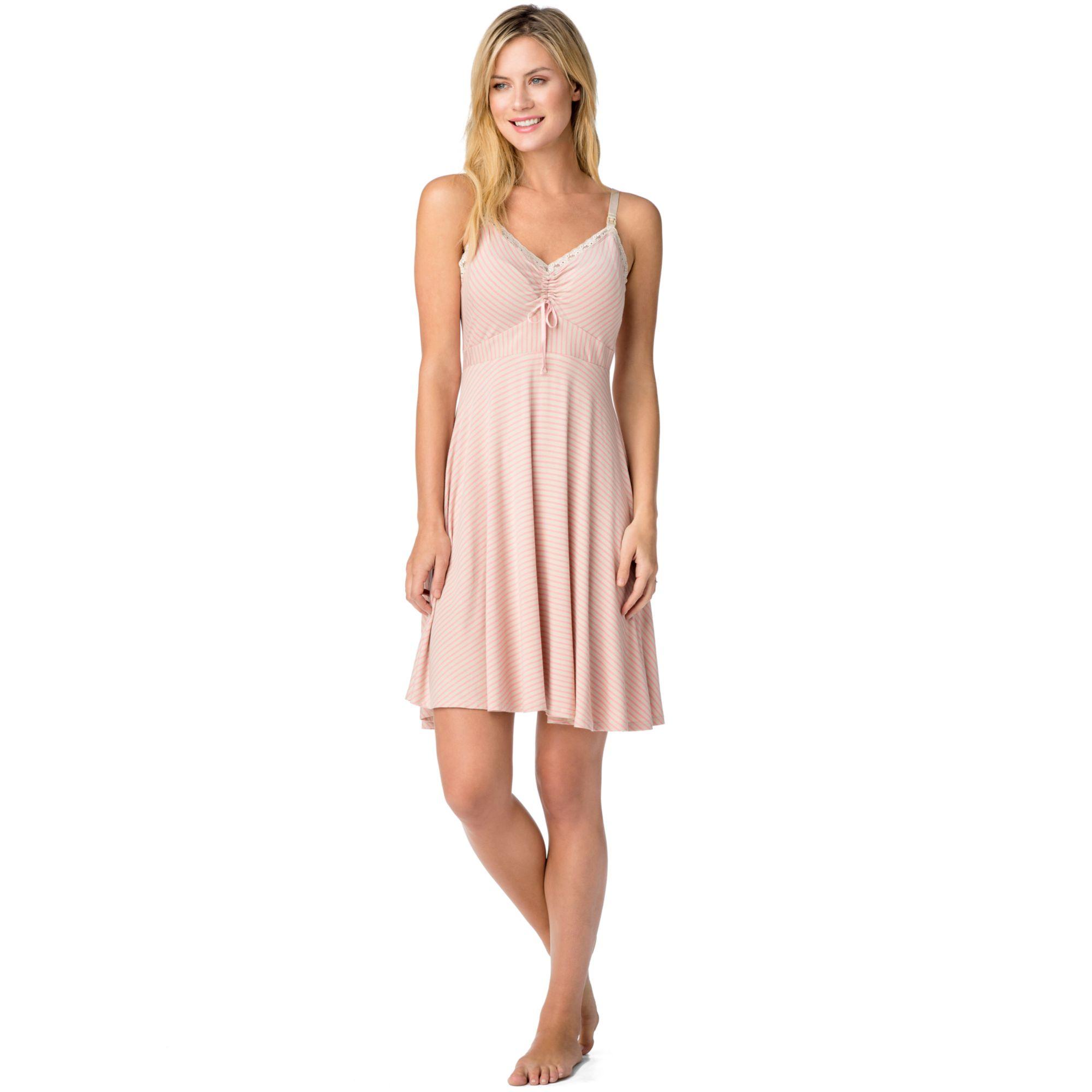 Lyst - Jessica Simpson Maternity Striped Nursing Nightgown in Pink 6a748260d