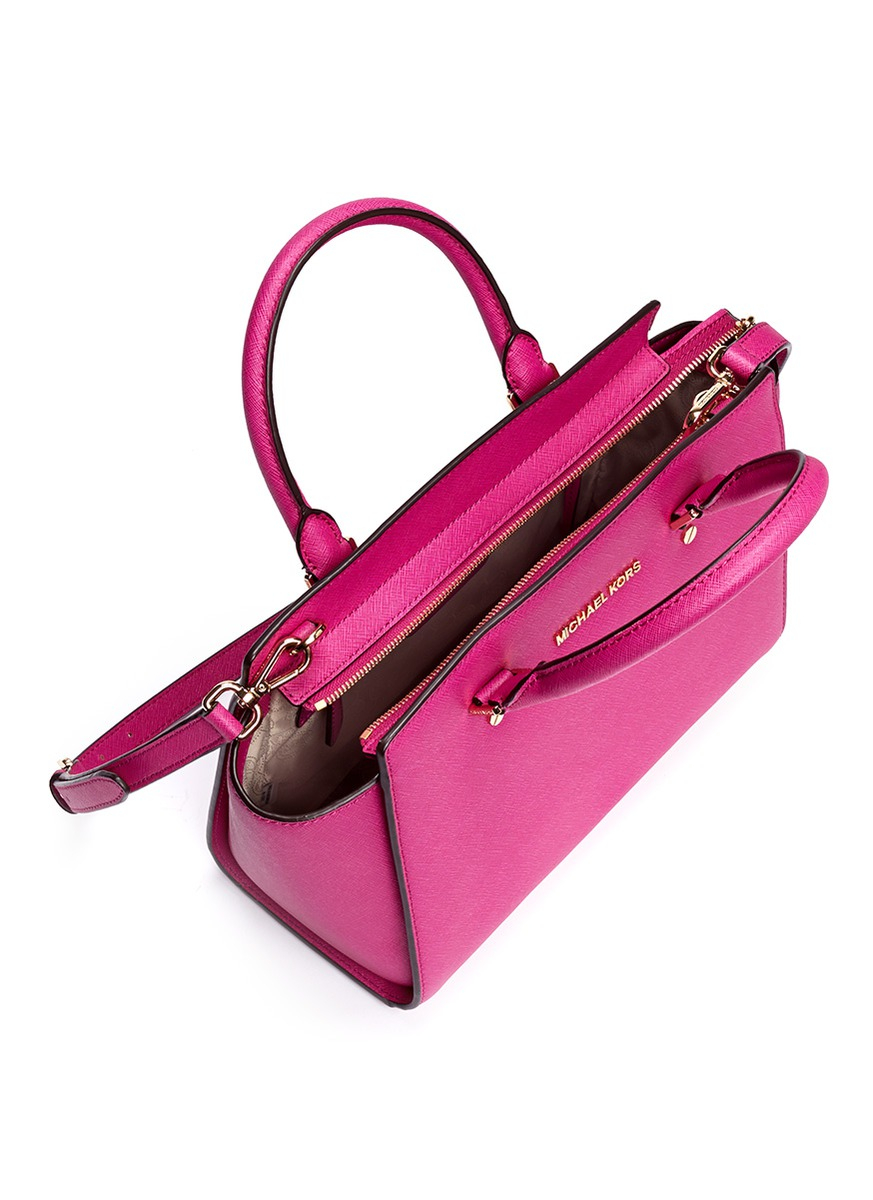 4ee06e16a371b7 ... coupon michael kors selma medium saffiano leather satchel in pink lyst  67bea b5c84