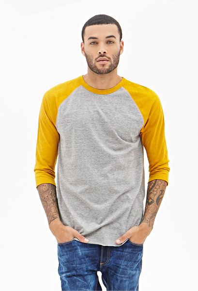 Forever 21 Colorblock Heathered Baseball Tee In Yellow For