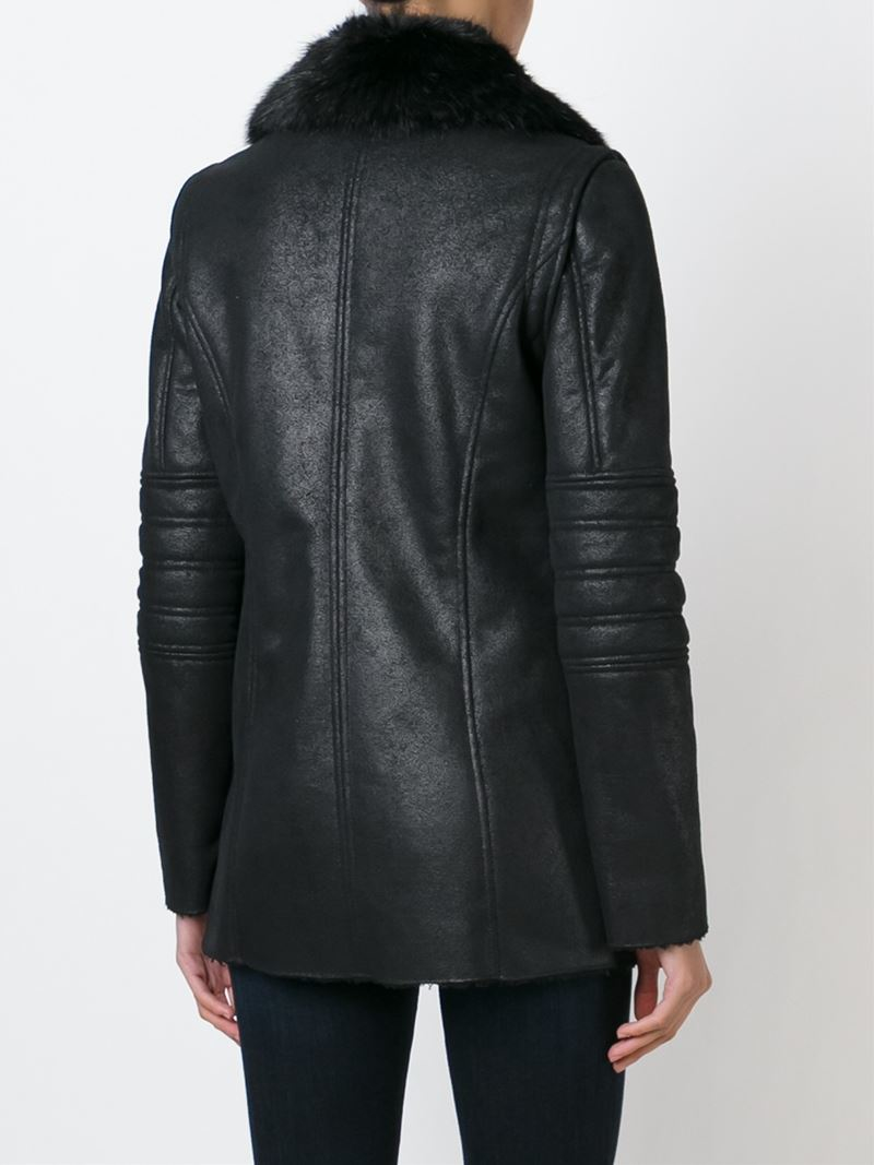 premium selection 85ef6 4a9c4 Lyst - Armani Jeans Faux Fur Collar Zipped Jacket in Black