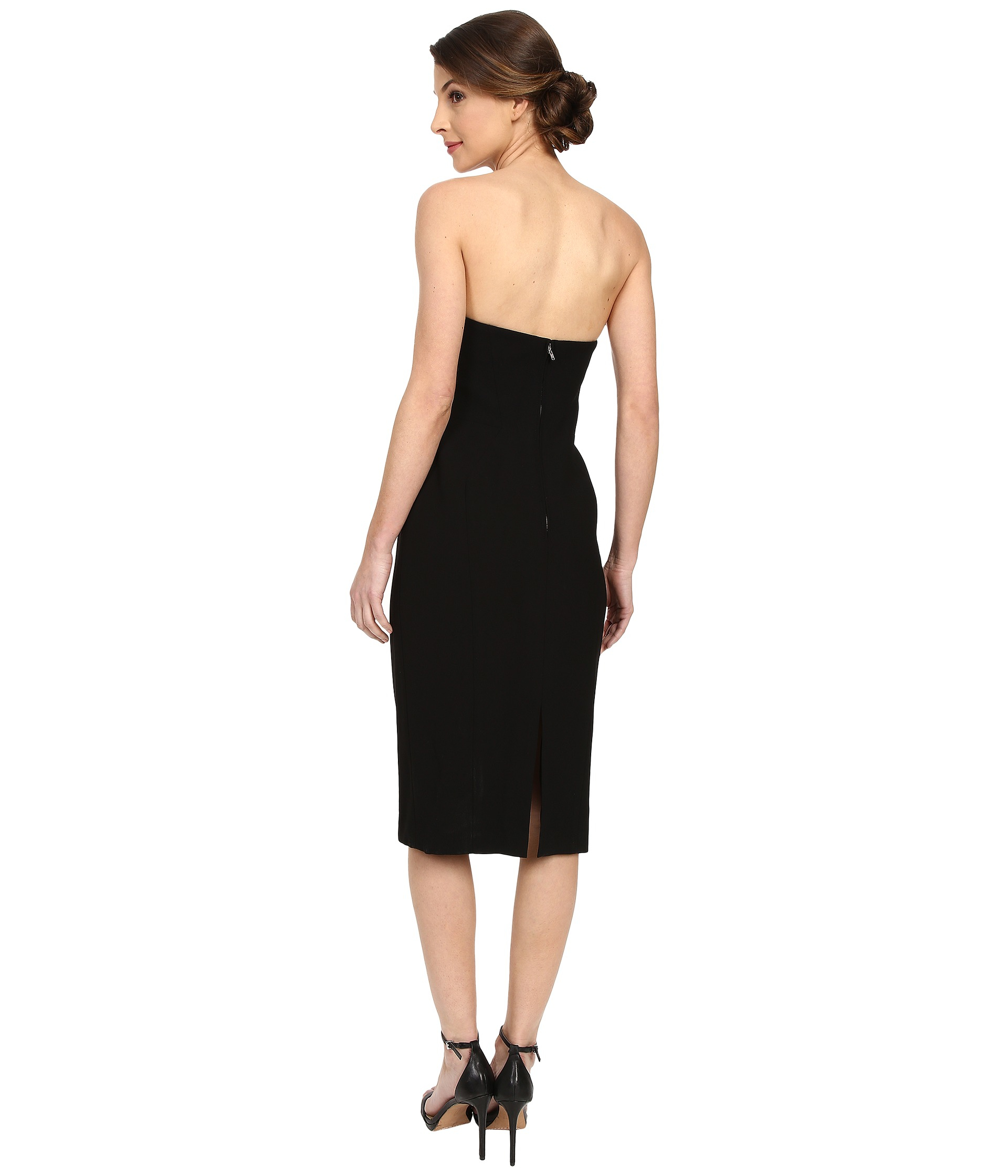 Jill jill stuart Strapless Knee Length Fitted Crepy Dress in Black ...