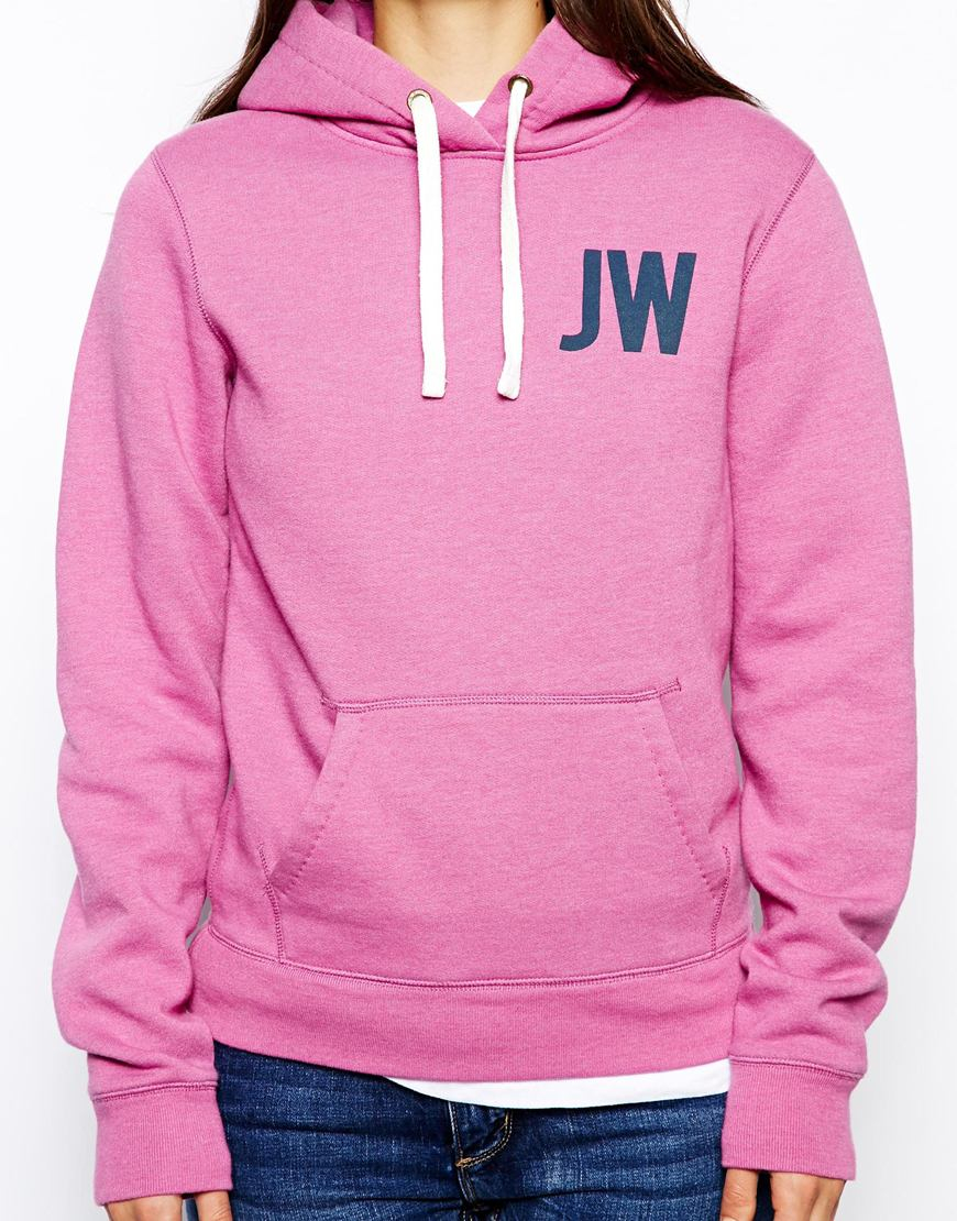 Jack wills logo hoodie in pink lyst for Thrilla in manila shirt under armour