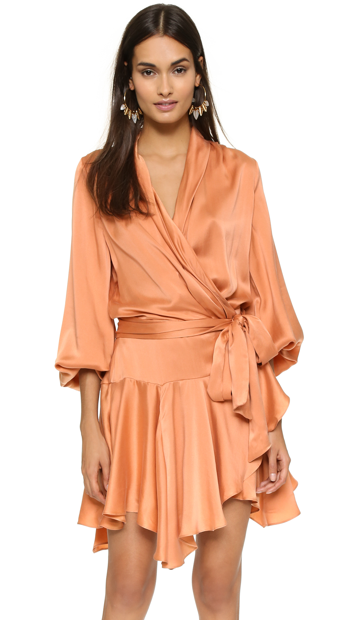 Lyst Zimmermann Empire Brushed Silk Robe Dress In Orange