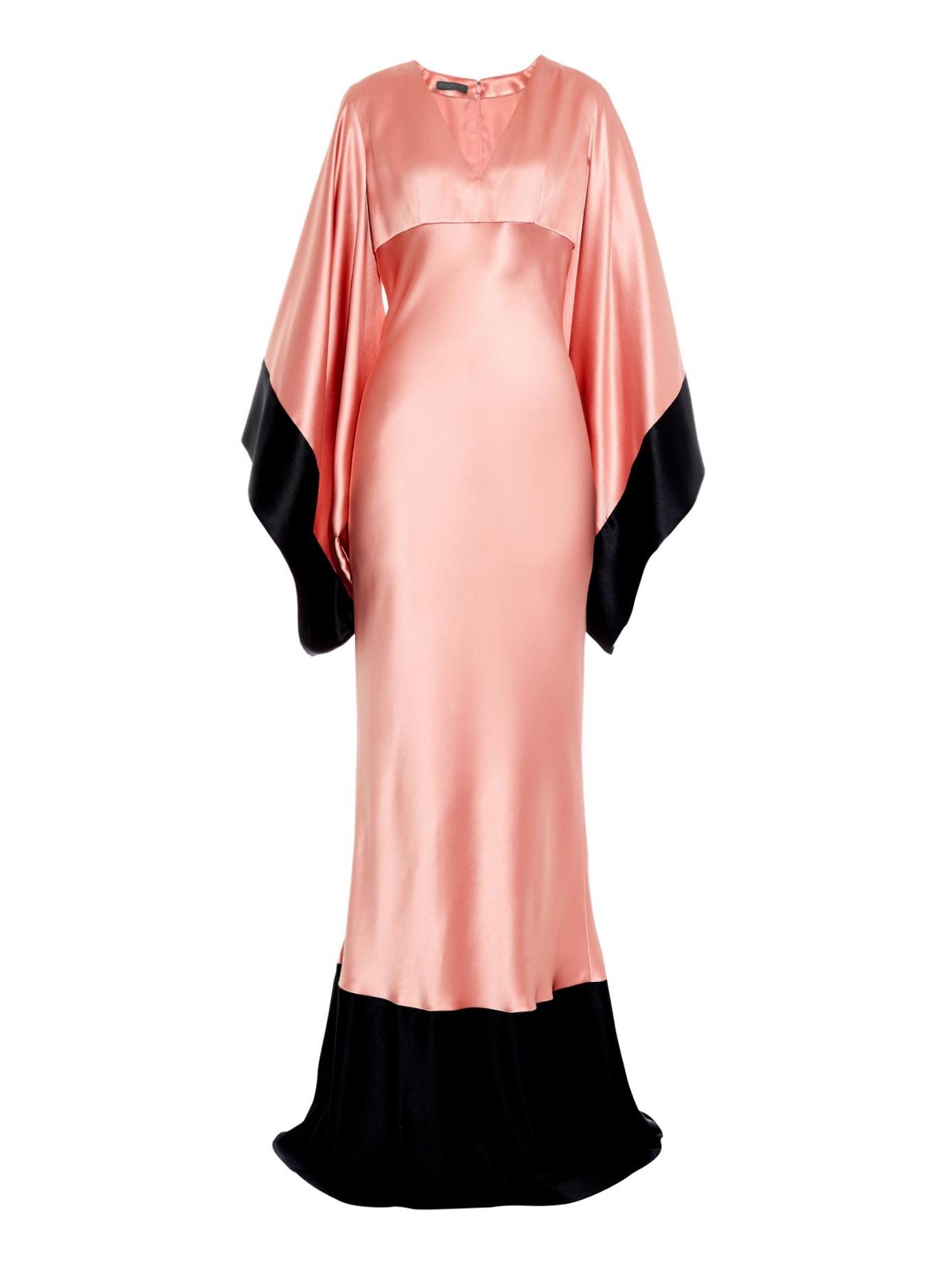 1439e3bda7 Lyst - Alexander McQueen Bi-colour Kimono-sleeve Silk-satin Gown in ...