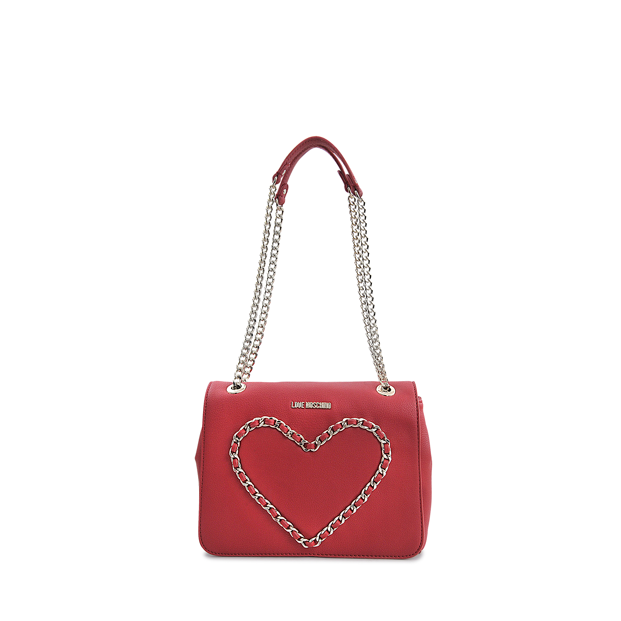 4051a59fcd3 Love Moschino Chain Heart Flap Bag in Red - Lyst