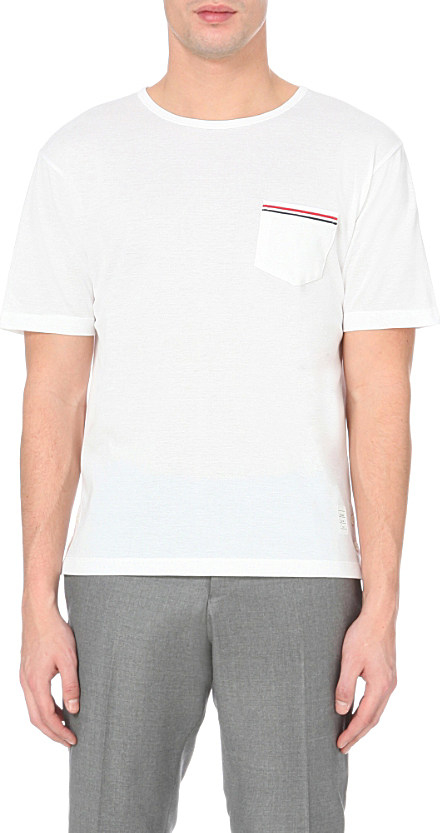 Thom browne striped pocket cotton piqu t shirt in white for Thom browne t shirt