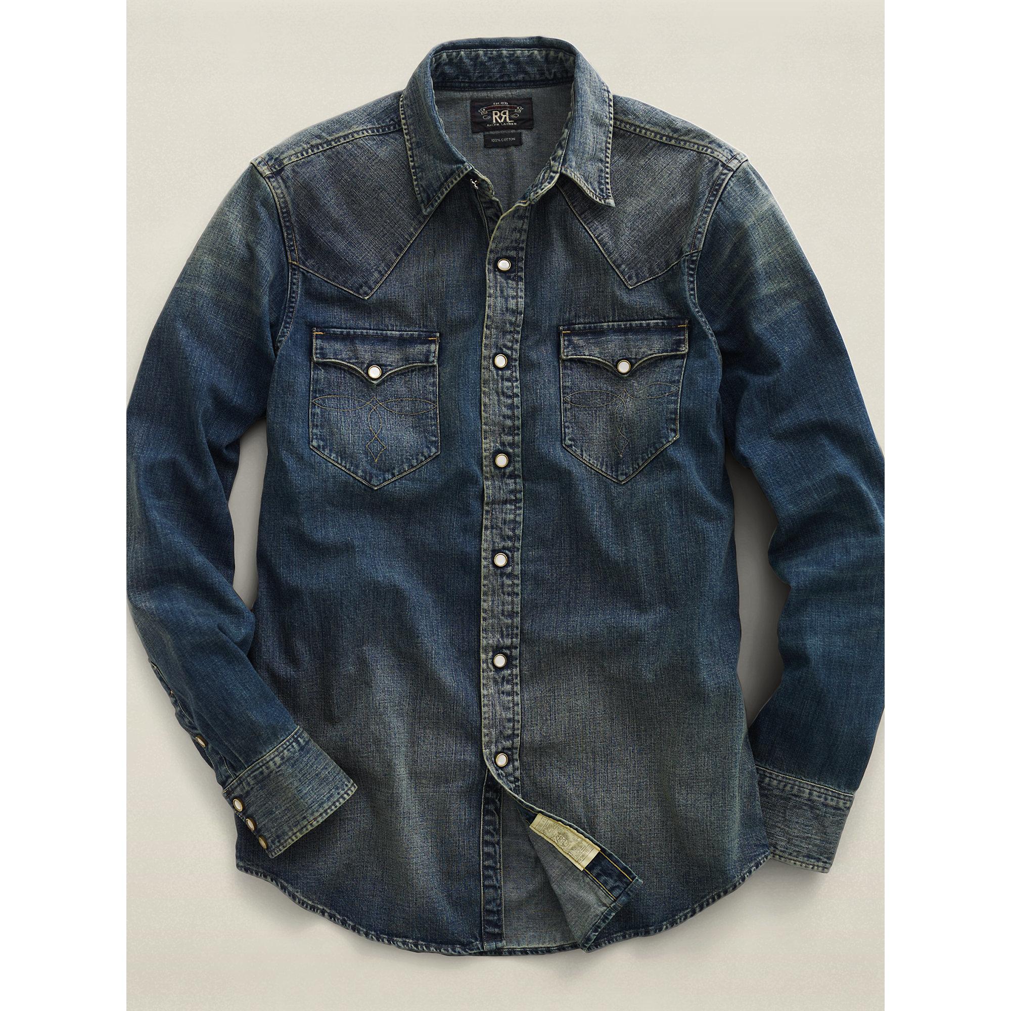 rrl slim dark denim western shirt in blue for men lyst