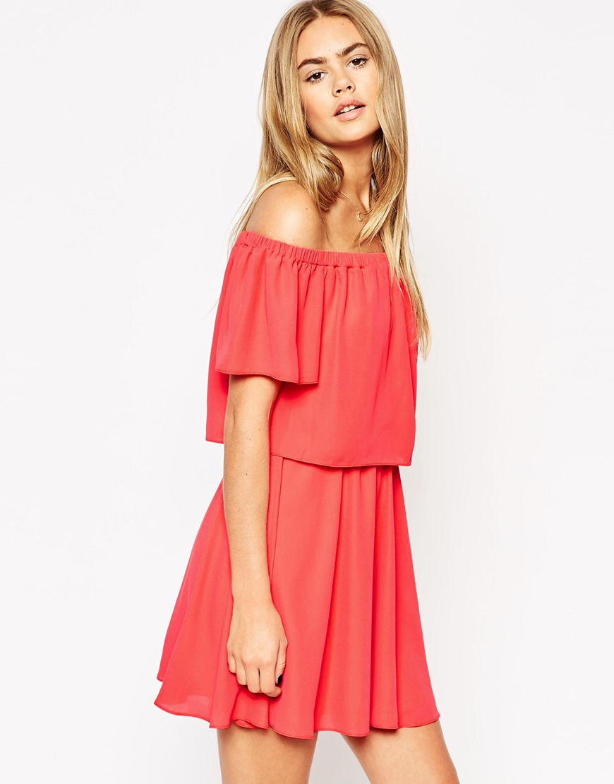 393a51ee762d ASOS Off Shoulder Dress With Short Sleeves in Pink - Lyst