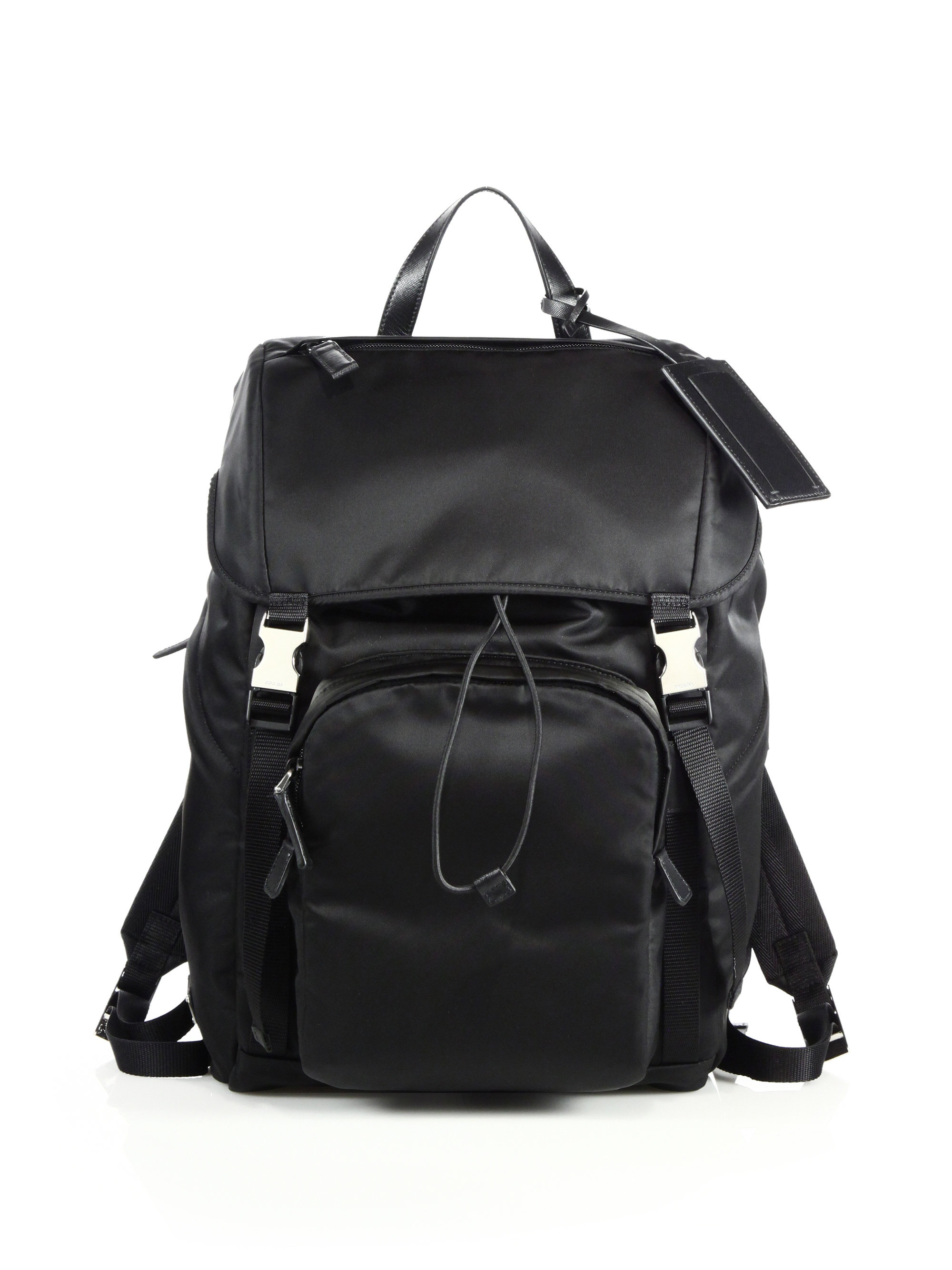 Prada Leather Trim Backpack in Black for Men | Lyst