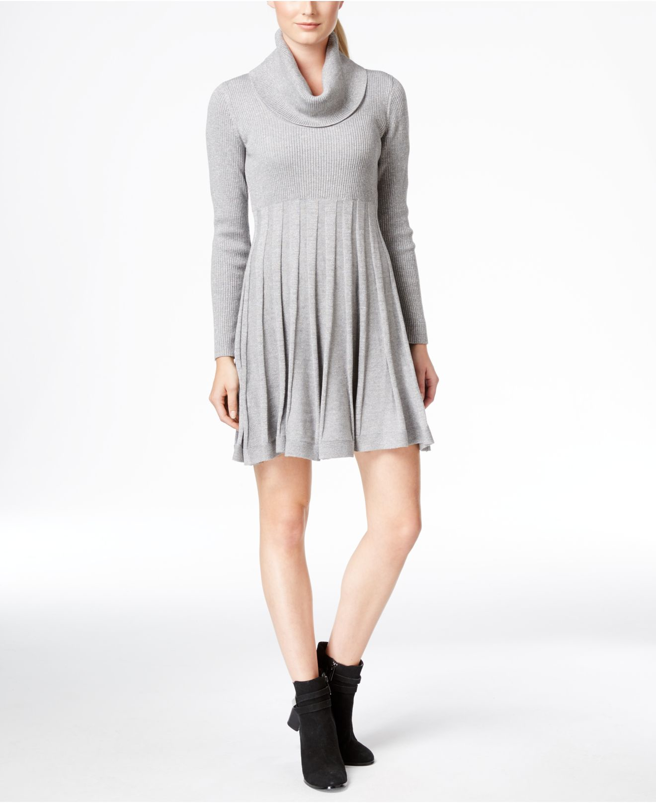 Calvin Klein Cowl Neck Fit Amp Flare Sweater Dress In Gray