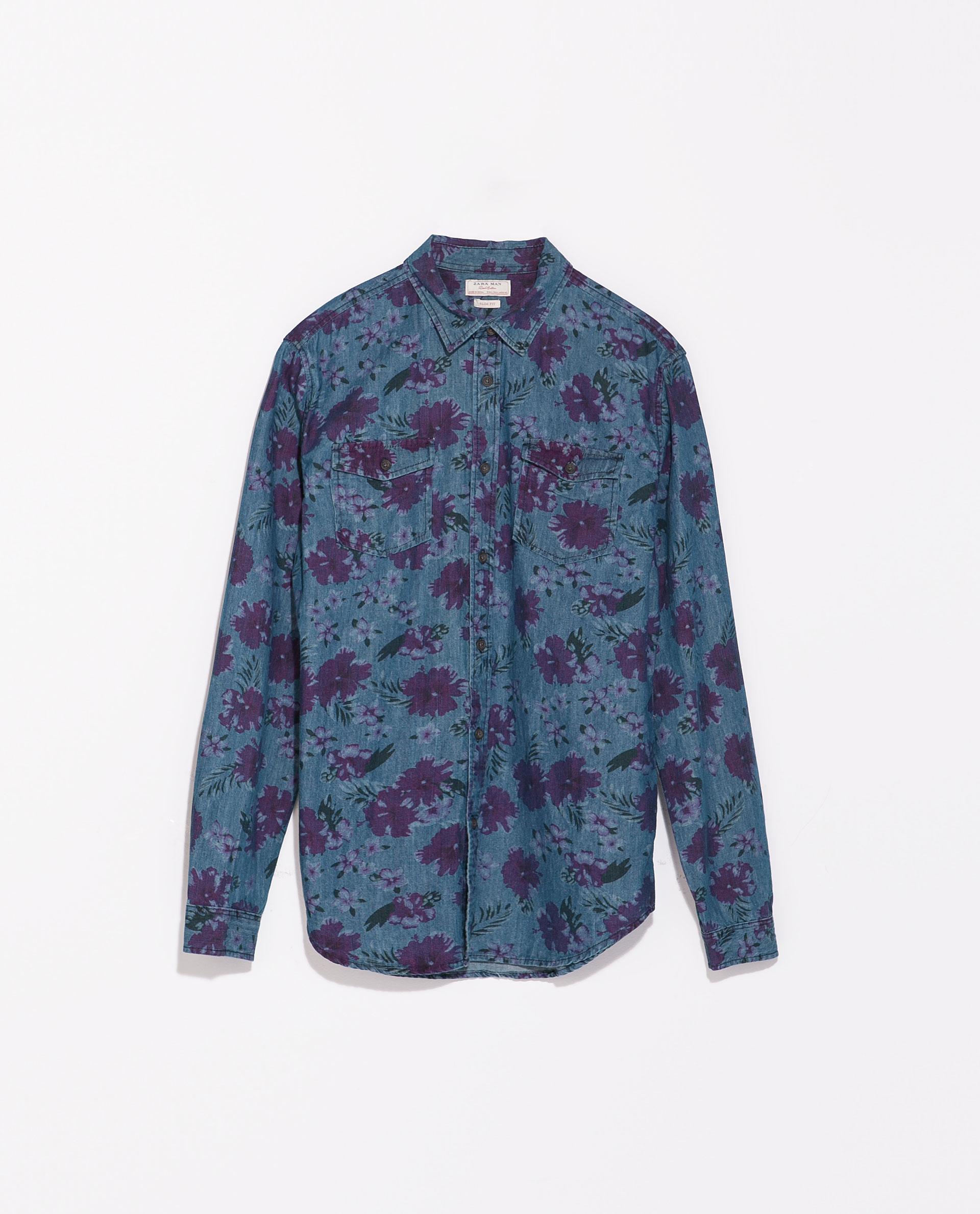 Zara floral print denim shirt in blue for men indigo lyst for Zara mens floral shirt