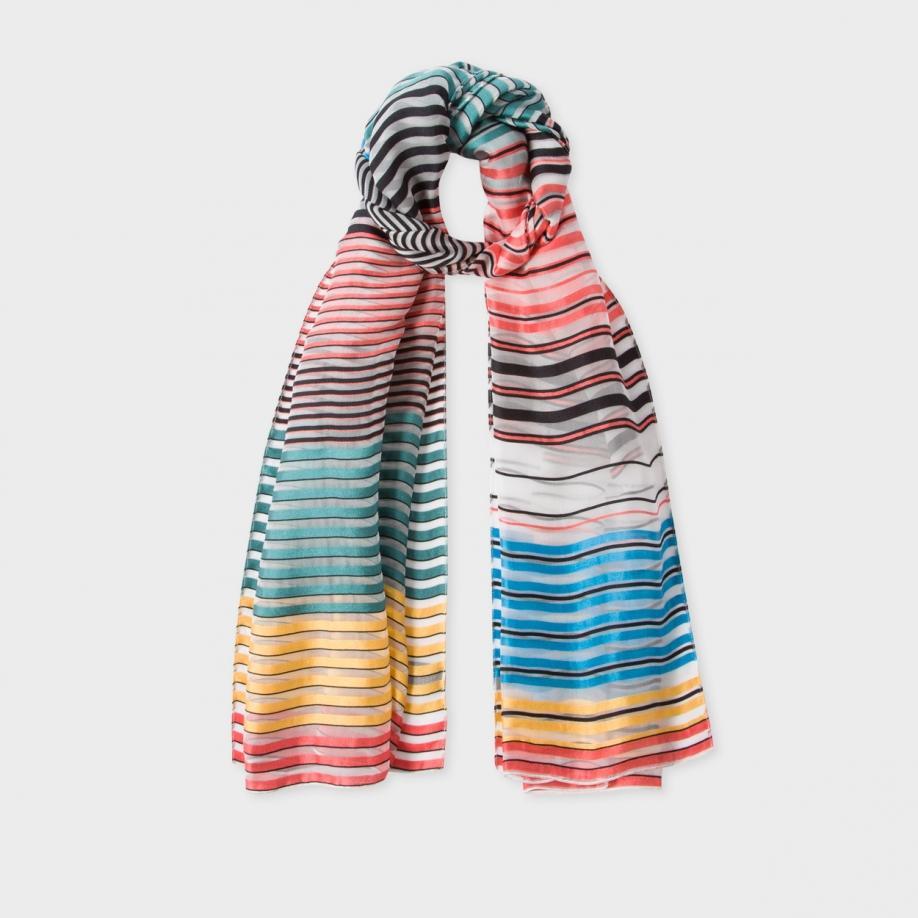 bbf4cedcfe72 Paul Smith Women's Multi-colour Semi-sheer 'mainline Stripe' Silk ...