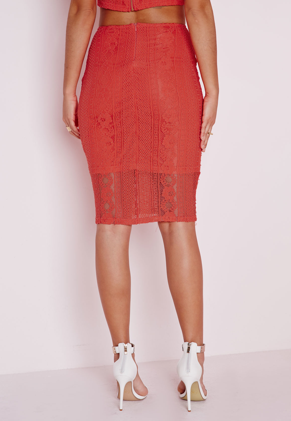 missguided lace bodycon midi skirt coral in lyst