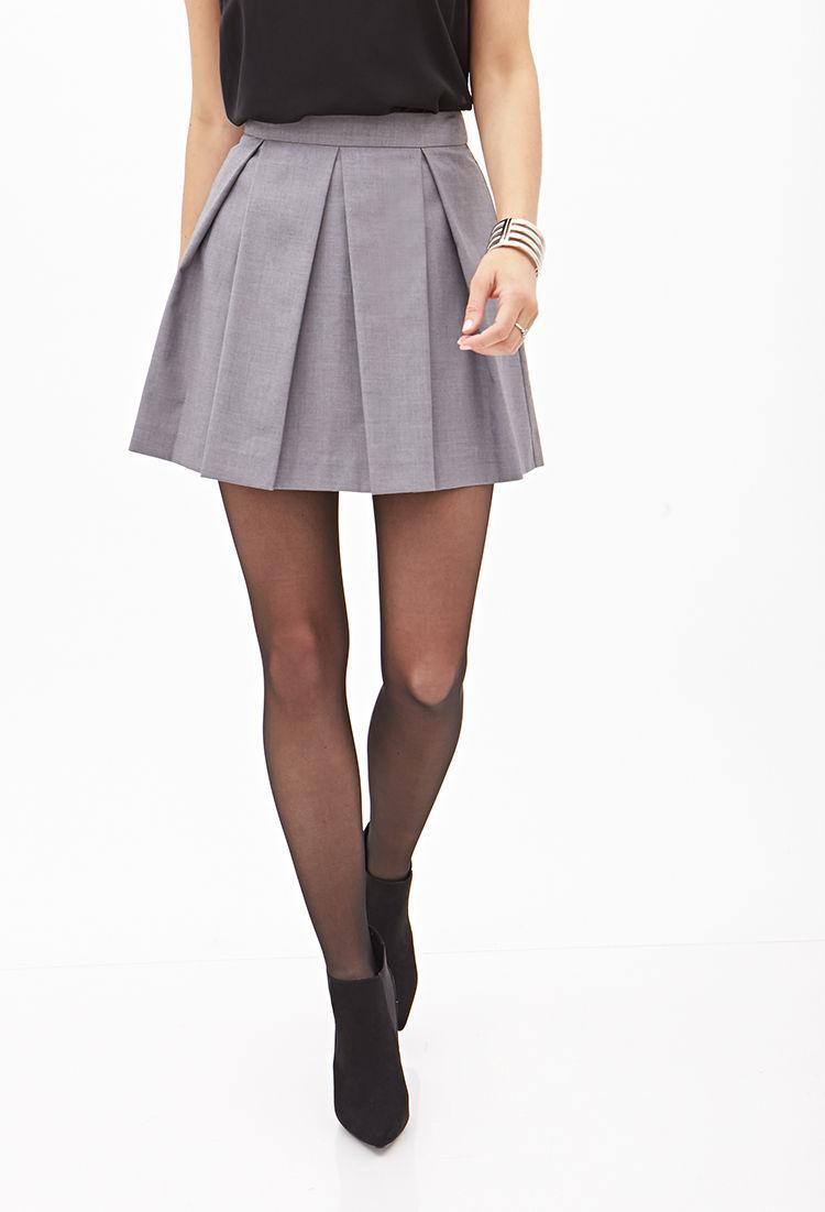 b79690b62fbf Pleated Grey Mini Skirt   Saddha