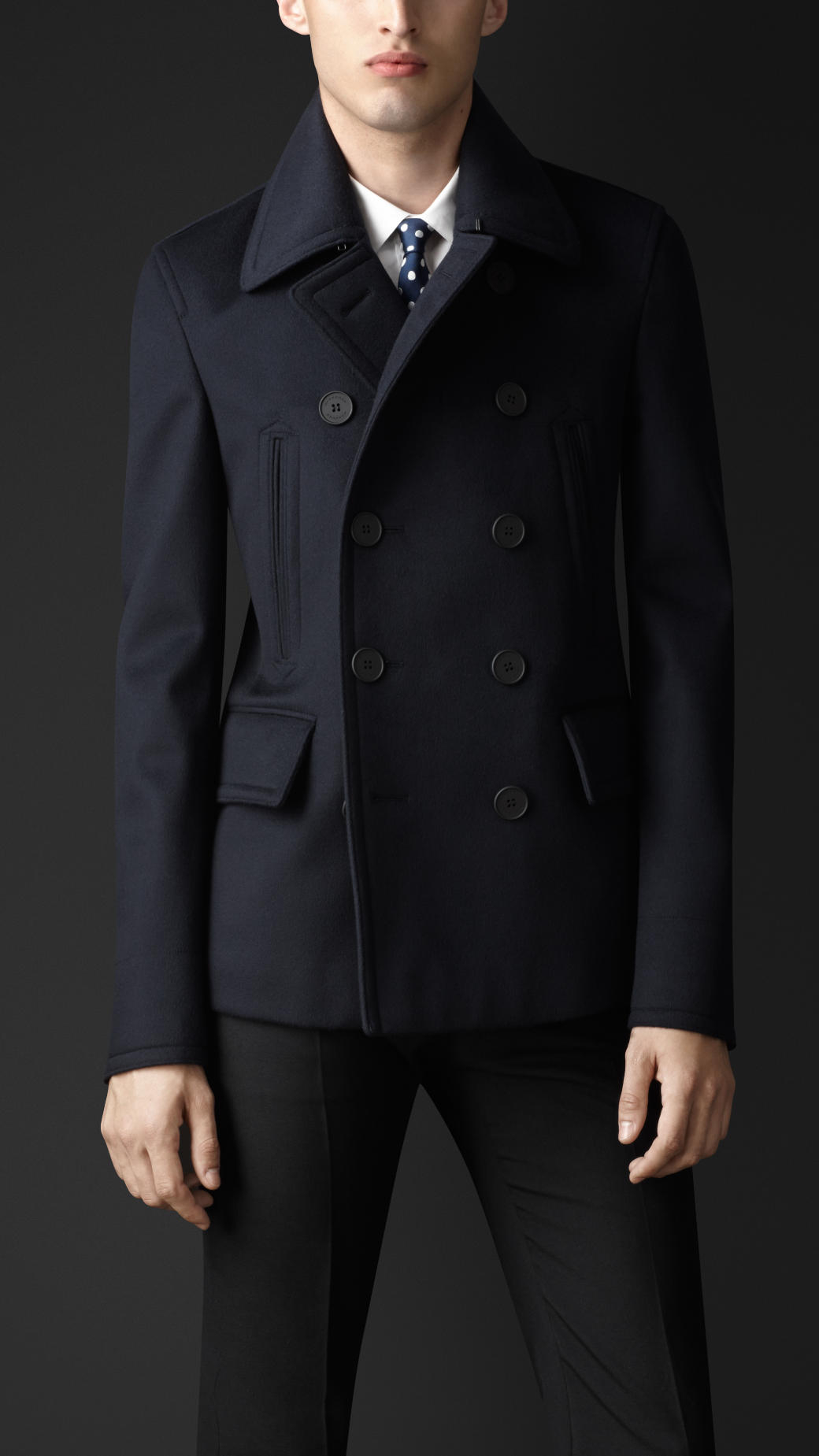 Burberry Cashmere Pea Coat in Blue for Men | Lyst