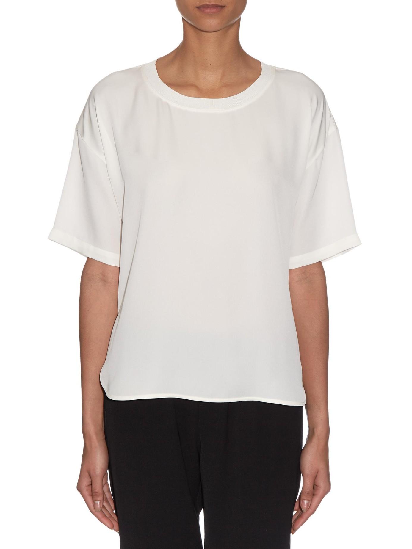 Theory beymia round neck silk t shirt in white lyst for Silk white t shirt