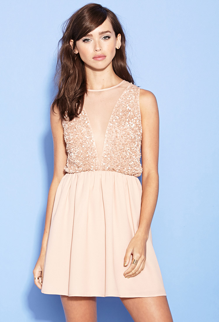 f57406b8234 Forever 21 Sequin Fit   Flare Dress in Pink - Lyst