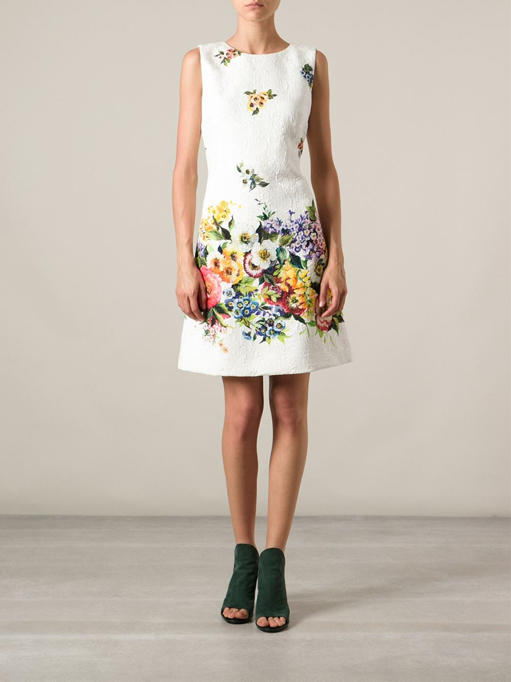 Lyst - Dolce   Gabbana Floral Print Dress in White f09d0838c