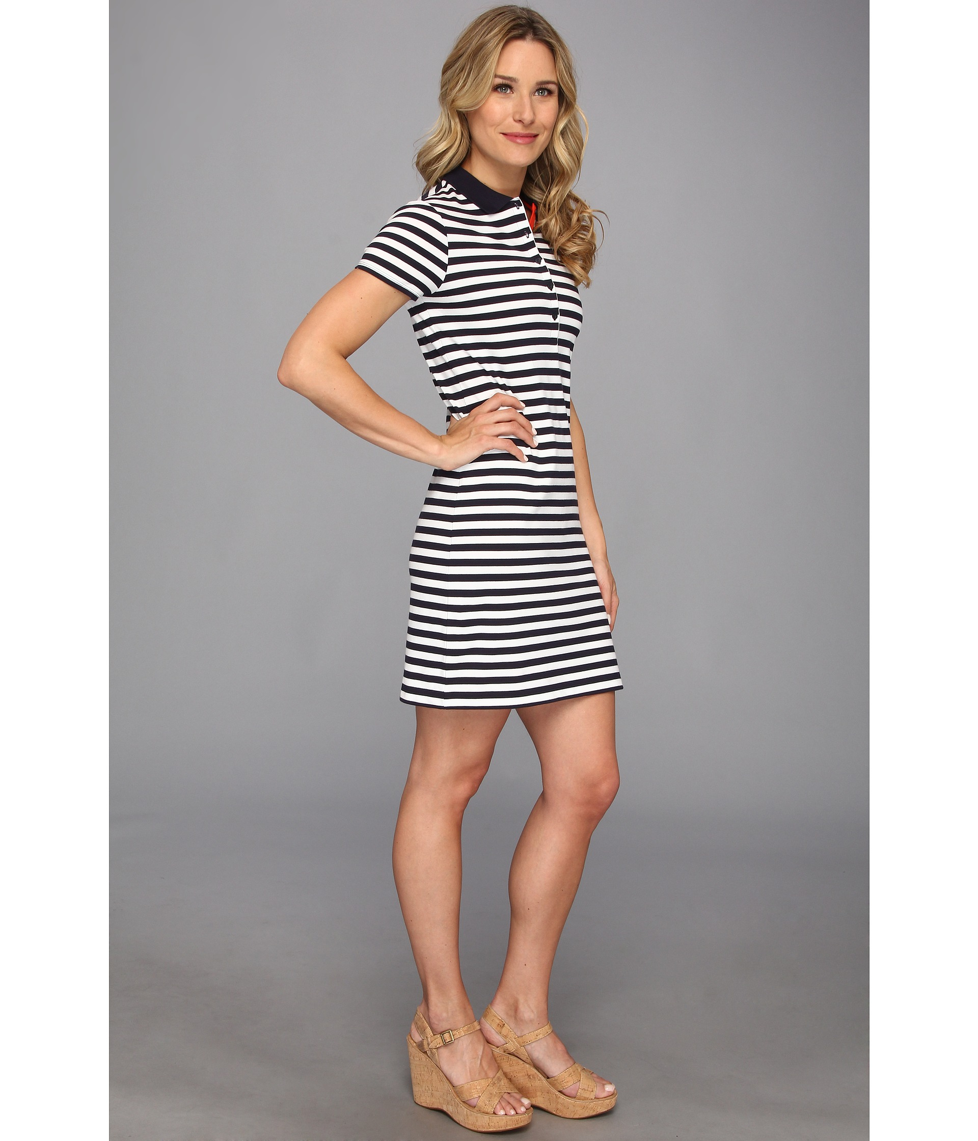 4789a3c83b Short Sleeve Striped Polo Dress - Gomes Weine AG
