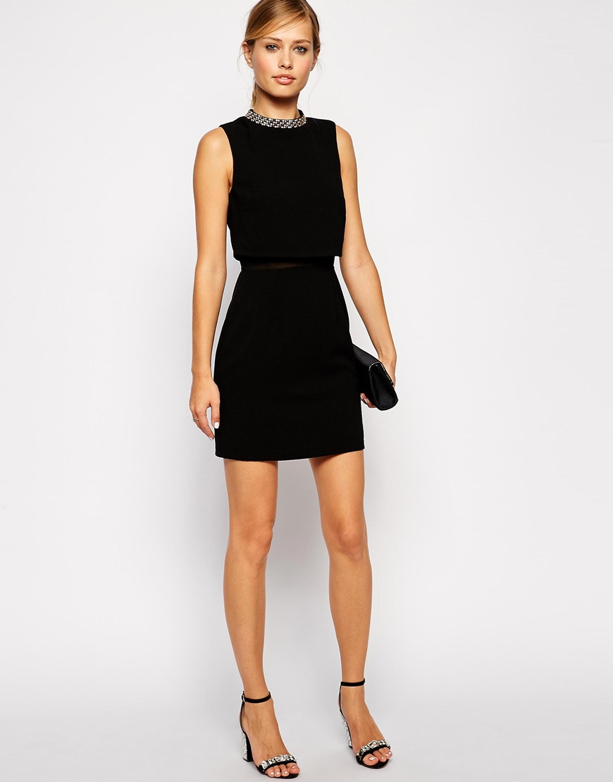 Stand Collar Dress Designs : Asos petite dress with embellished collar stand in black