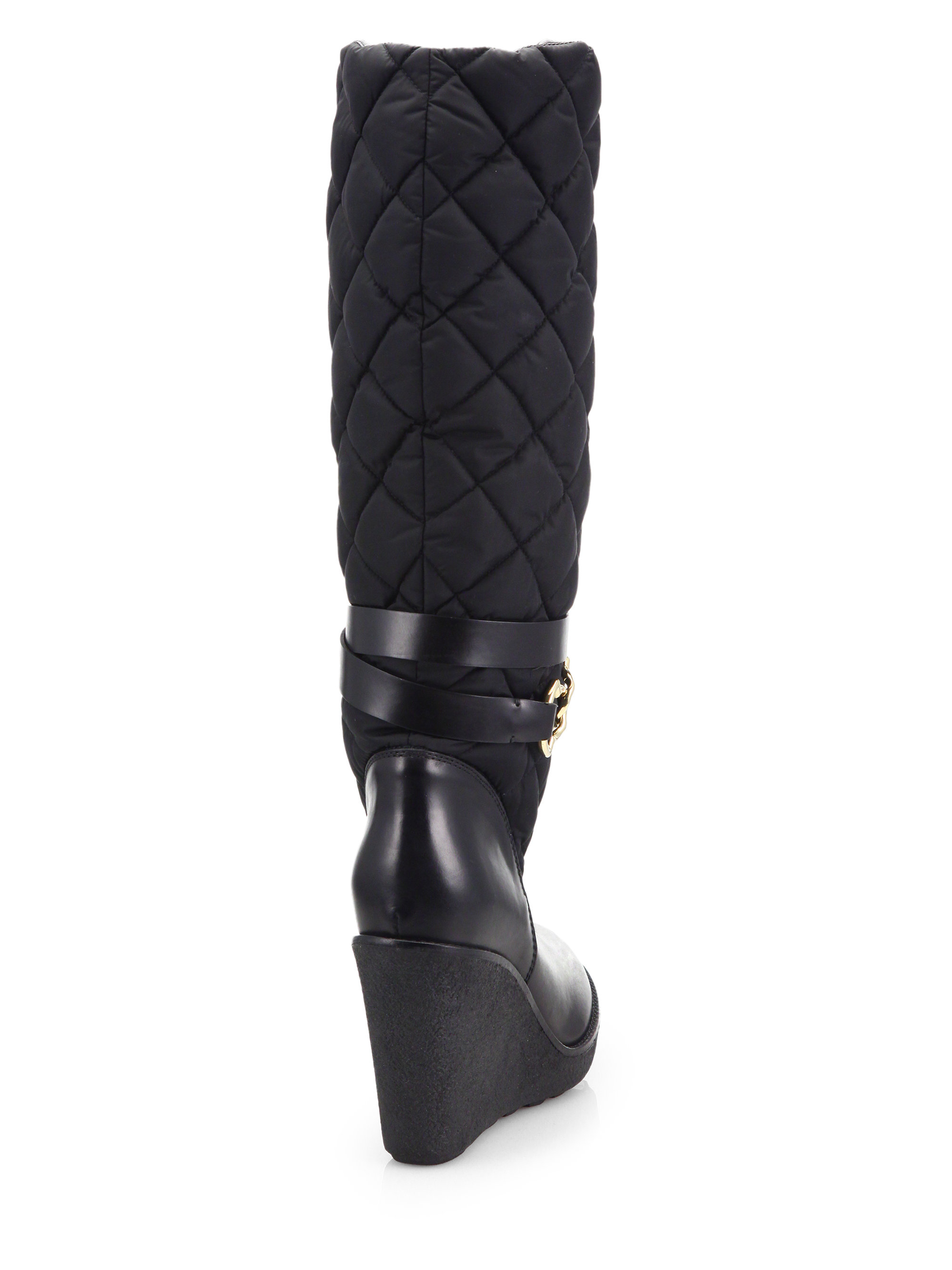 moncler cernobbio quilted knee high wedge boots in black