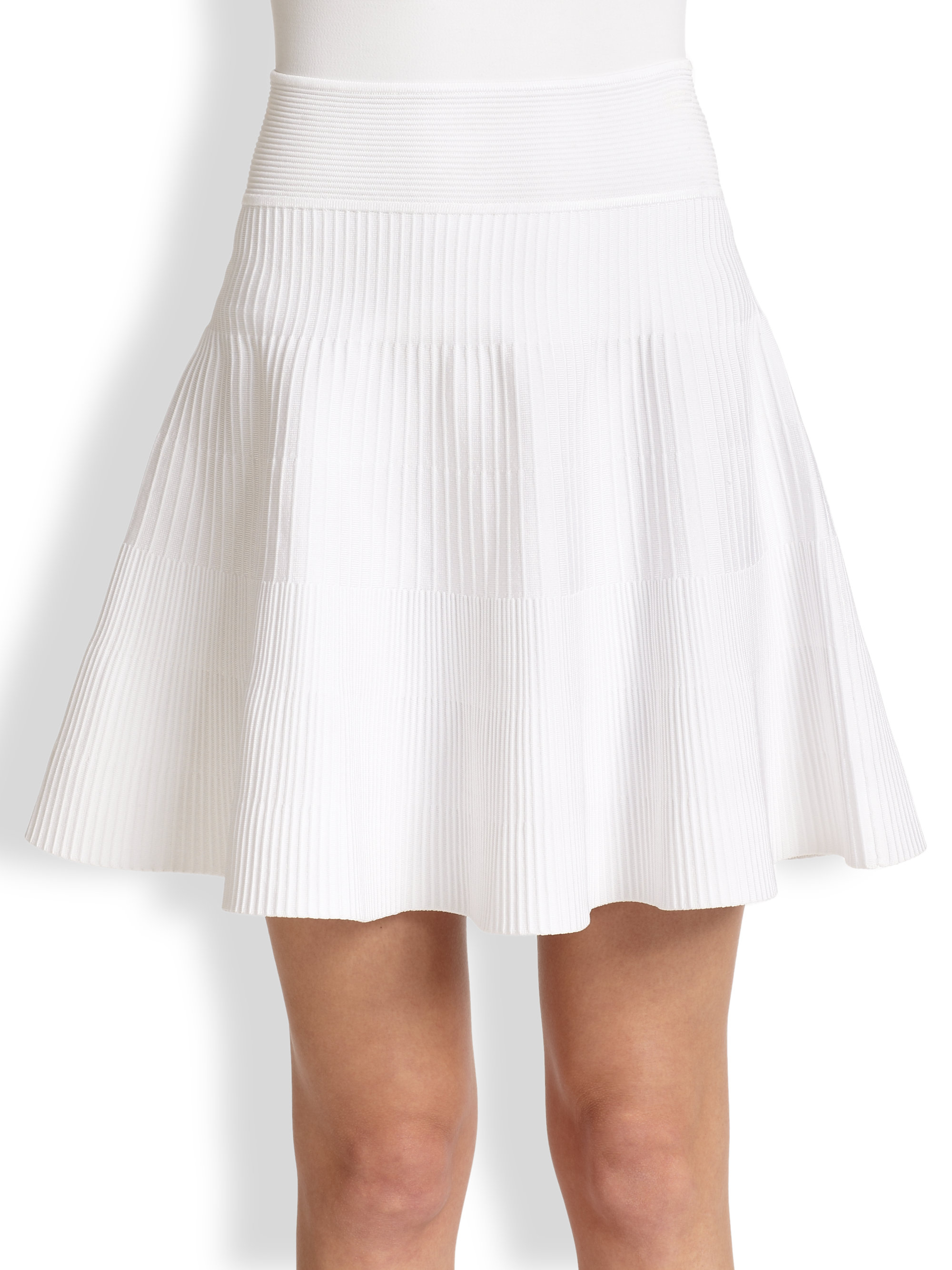 Milly Ribbed Knit Flared Skirt in White | Lyst