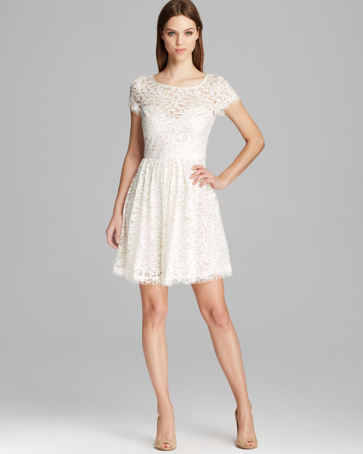 Nicole miller Dress Swirling Vines Short Sleeve Lace Fit and Flare ...