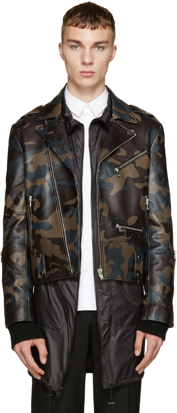 133c483238638 Pyer Moss Tricolor Camo Leather Jacket in Green for Men - Lyst