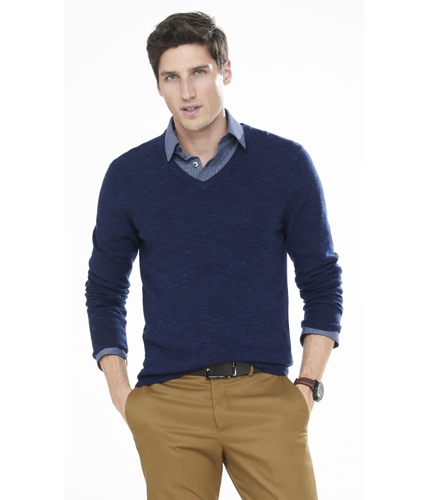 Express Marled Merino Wool V-neck Sweater in Blue for Men | Lyst