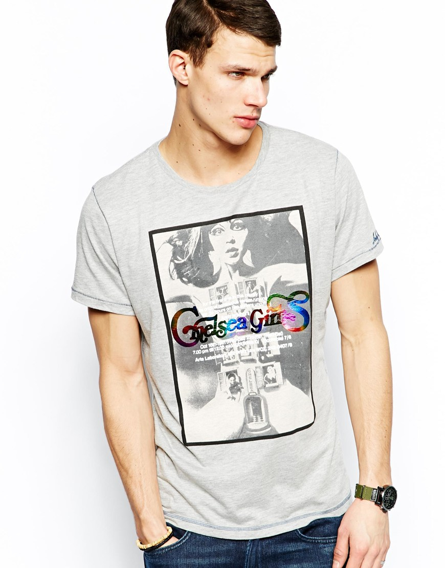 pepe jeans pepe t shirt andy warhol chelsea girl print in gray for men. Black Bedroom Furniture Sets. Home Design Ideas