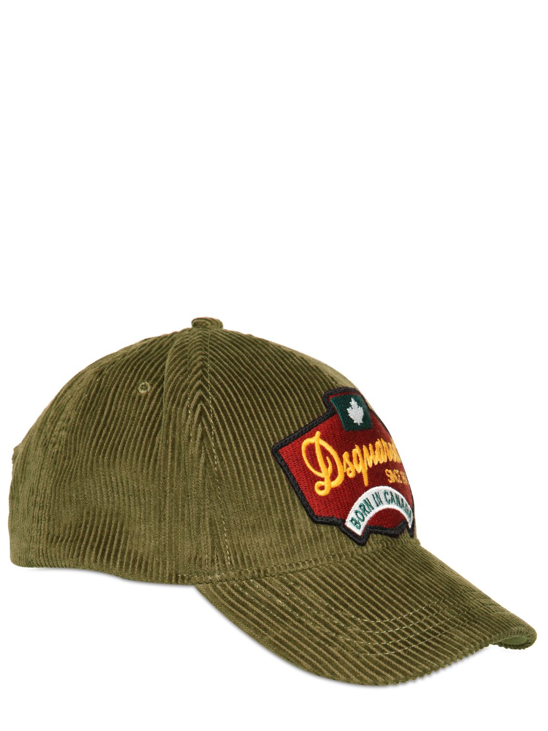 dsquared 178 corduroy baseball hat in green for lyst