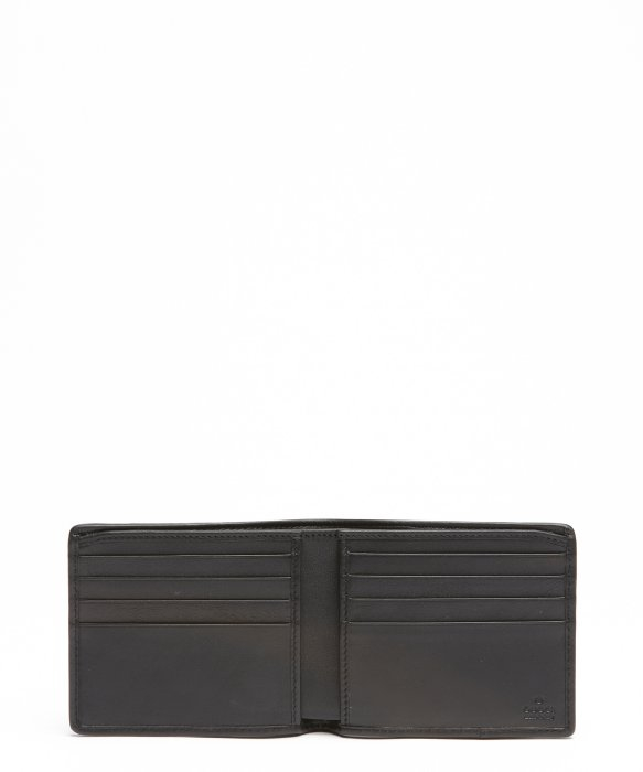 2ea929a2dd30 Lyst - Gucci Black Leather Web Stripe Bifold Wallet in Black for Men