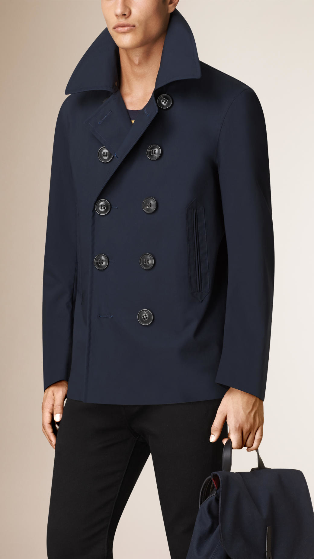 Burberry Showerproof Bonded Cotton Pea Coat in Blue for Men | Lyst